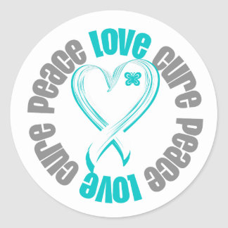 Cervical Cancer Peace Love Cure Ribbon Sticker