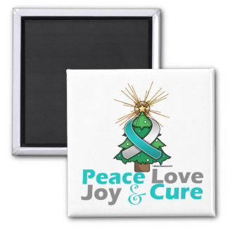 Cervical Cancer Peace Love Joy Cure 2 Inch Square Magnet