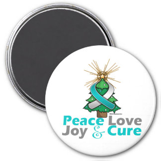 Cervical Cancer Peace Love Joy Cure 3 Inch Round Magnet
