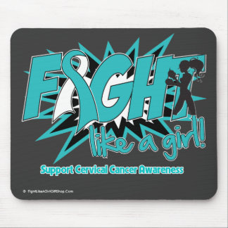 Cervical Cancer POW Style Fight Like A Girl Mouse Pad