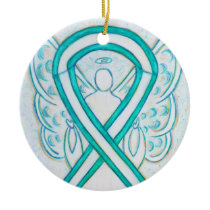Cervical Cancer Ribbon Angel Custom Art Ornaments