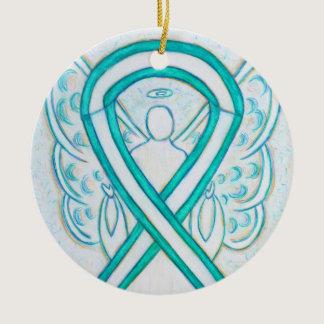 Cervical Cancer Ribbon Angel Custom Art Ornaments
