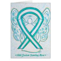Cervical Cancer Ribbon Angel Greeting Card