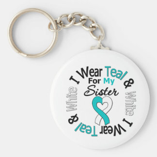 Cervical Cancer Ribbon For My Sister Basic Round Button Keychain