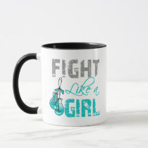 Cervical Cancer Ribbon Gloves Fight Like a Girl Mug