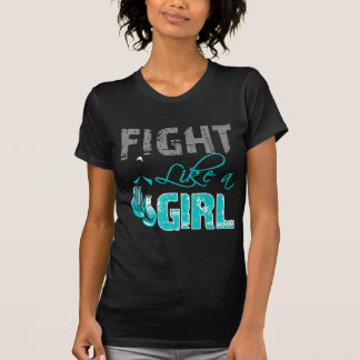 Cervical Cancer Ribbon Gloves Fight Like a Girl Tee Shirts