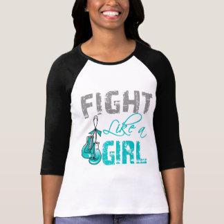 Cervical Cancer Ribbon Gloves Fight Like a Girl Tshirt