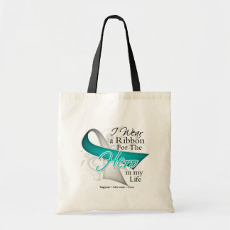 Cervical Cancer Ribbon Hero in My Life Budget Tote Bag