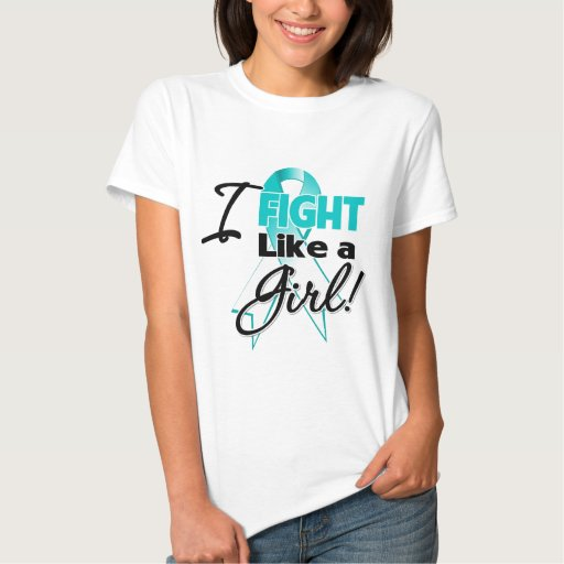 Cervical Cancer Ribbon - I Fight Like a Girl T-shirts