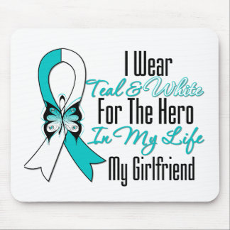 Cervical Cancer Ribbon My Hero My Girlfriend Mouse Pad