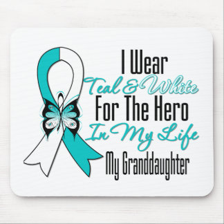 Cervical Cancer Ribbon My Hero My Granddaughter Mouse Pad