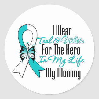 Cervical Cancer Ribbon My Hero My Mommy Round Stickers
