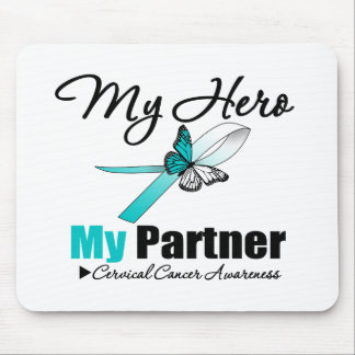 Cervical Cancer Ribbon My HERO My Partner Mouse Pad