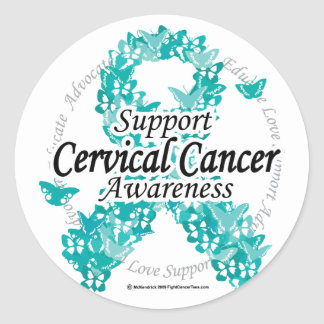 Cervical Cancer Ribbon of Butterflies Classic Round Sticker