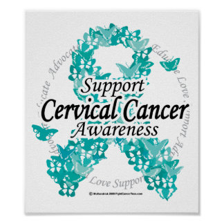 Cervical Cancer Ribbon of Butterflies Posters