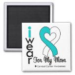 Cervical Cancer Ribbon Support Mom Refrigerator Magnet