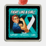 Cervical Cancer Rosie Riveter - Fight Like a Girl Christmas Tree Ornaments