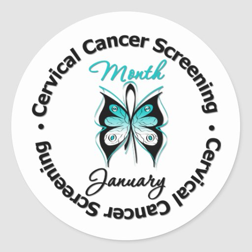 Cervical Cancer Screening Month Classic Round Sticker