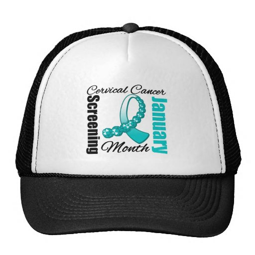Cervical Cancer Screening Month Ribbon Trucker Hats