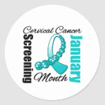 Cervical Cancer Screening Month Ribbon Round Sticker