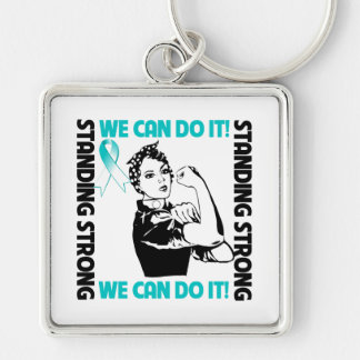 Cervical Cancer Standing Strong We Can Do It Keychains