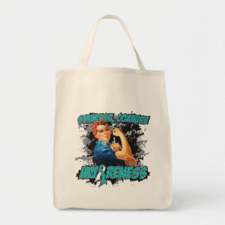Cervical Cancer Strength Courage Grocery Tote Bag