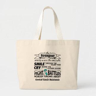 Cervical Cancer Strongest Among Us Large Tote Bag
