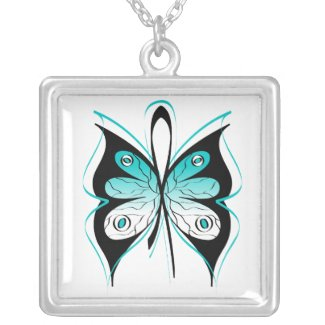 Cervical Cancer Stylish Butterfly Awareness Ribbon necklace