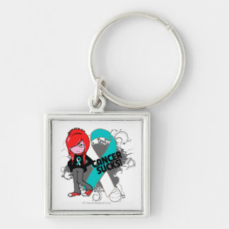 Cervical Cancer Sucks Silver-Colored Square Keychain