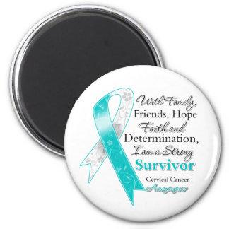 Cervical Cancer Support Strong Survivor 2 Inch Round Magnet