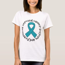 Cervical Cancer Support Teal ribbon Womens T-shirt