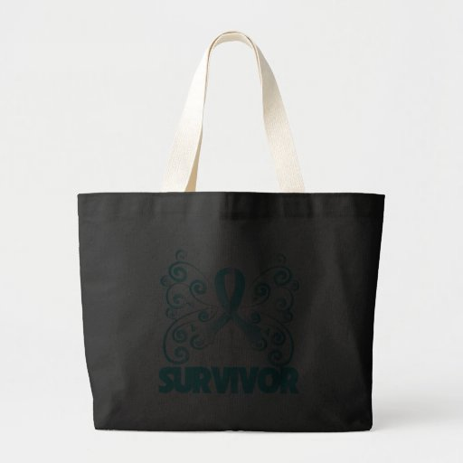 Cervical Cancer Survivor Butterfly Tote Bags