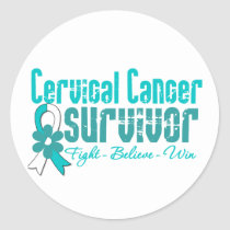Cervical Cancer Survivor Flower Ribbon Classic Round Sticker