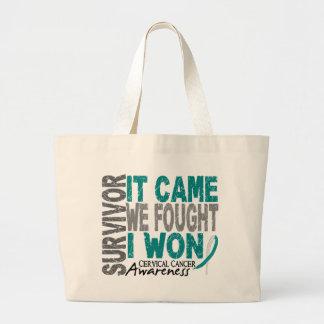 Cervical Cancer Survivor It Came We Fought I Won Large Tote Bag