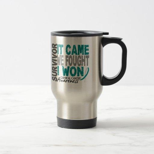 Cervical Cancer Survivor It Came We Fought I Won Coffee Mugs