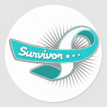 Cervical Cancer Survivor Ribbon Round Stickers