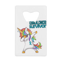 CERVICAL CANCER Survivor Stand-Fight-Win Credit Card Bottle Opener