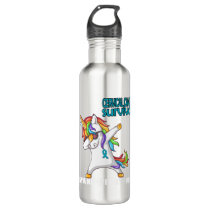 CERVICAL CANCER Survivor Stand-Fight-Win Stainless Steel Water Bottle