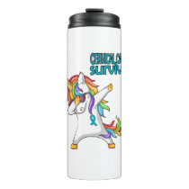 CERVICAL CANCER Survivor Stand-Fight-Win Thermal Tumbler