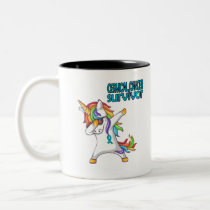CERVICAL CANCER Survivor Stand-Fight-Win Two-Tone Coffee Mug