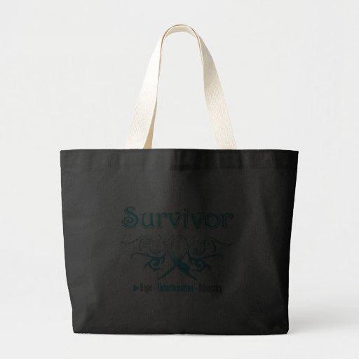 Cervical Cancer Survivor Tribal Ribbon Large Tote Bag