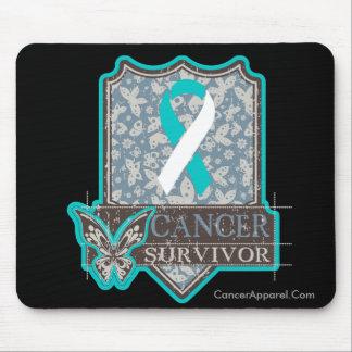 Cervical Cancer Survivor Vintage Butterfly Mouse Pad