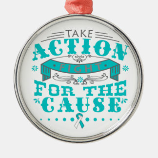 Cervical Cancer Take Action Fight For The Cause Round Metal Christmas Ornament