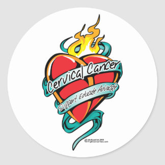 Cervical Cancer Tattoo Heart Classic Round Sticker