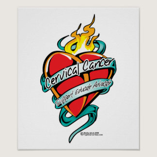 Cervical Cancer Tattoo Heart Poster