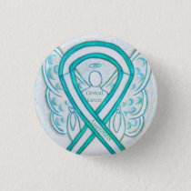 Cervical Cancer Teal Awareness Ribbon Angel Button