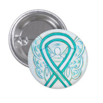 Cervical Cancer Teal Awareness Ribbon Angel Button
