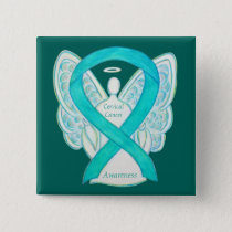 Cervical Cancer Teal Awareness Ribbon Angel Pin