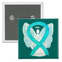 Cervical Cancer Teal Awareness Ribbon Angel Pin