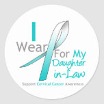CERVICAL CANCER Teal & White Daughter-in-Law Round Stickers